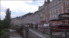 Karlovy Vary or Carlsbad it is historically famous for its hot springs Stock Footage