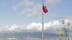 Canadian flag blowing - backdrop beautiful day North Vancouver Stock Footage