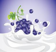 Stock Illustration of Grapes splashing in milk