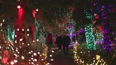 Vancouver Vandusen christmas lights - couple walking Stock Footage