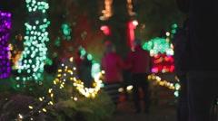 Couples walking through the van dusen garden lights Stock Footage