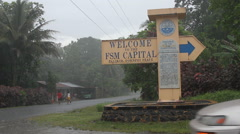 Road Sign to Capital on Micronesian Island of Pohnpei Stock Footage