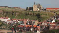 ST. MARY'S CHURCH & ABBEY, WHITBY, NORTH YORKSHIRE, ENGLAND Stock Footage