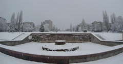 Here is the fountain in the small town of harsh winter - stock footage