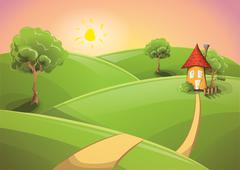 Countryside sunset - stock illustration