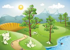 Summer day in a countryside landscape Stock Illustration