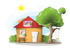Cozy countryside house Stock Illustration