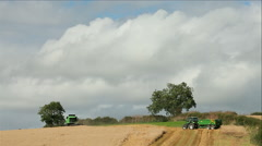 COMBINED HARVESTER TRACTOR NORTH YORKSHIRE ENGLAND Stock Footage