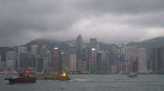 Hong Kong Island traffic boat Pearl River monsoon season heavy rain storm iconic Stock Footage