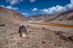 Arid landscape in Tajikistan - stock photo