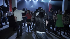 Party at night club, dancing girl Stock Footage