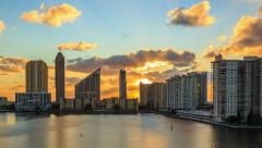 Time lapse of Miami, sunrise, shot from Williams Island - stock footage