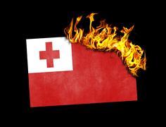 Stock Illustration of Flag burning - Tonga