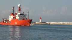 Hesperides, A33 berthing in Port Cartagena, Spain Stock Footage