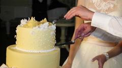 Cutting of wedding cake Stock Footage
