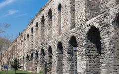 Valens Aqueduct in Istanbul, side view Stock Photos