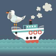 Stock Illustration of Seagull looking through binoculars on the vessel