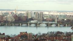 Tilt Down to Salt and Pepper Bridge in Boston Stock Footage