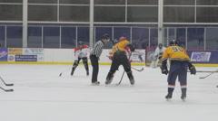 Hockey facing off, Ice Hockey team sport game day Stock Footage