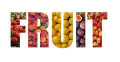 Colorful ripe fruit inside text on white backround - stock illustration