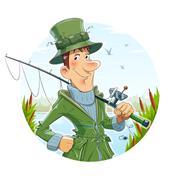 Fisherman with rod. Fishing Stock Illustration