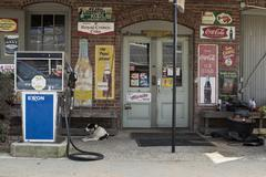 Old Gas Station with Dog Stock Photos
