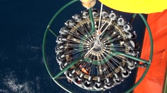 Scientist collecting oceanographic rosette CTD Stock Footage