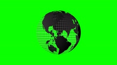 4k rotating world map grid green screen loop Stock Footage
