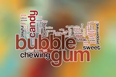 Bubble gum word cloud concept with candy chewing related tags - stock illustration