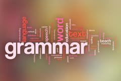 Grammar concept word cloud background on pastel blurred background - stock illustration