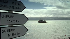 Gabriel castilla Station. information sign with sea and boat in the background Stock Footage