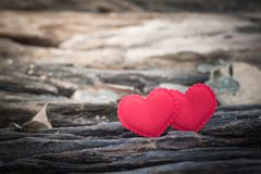 Valentines Day background with two hearts - stock photo