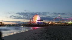 Santa Monica Pier Night with Zoom Out Stock Footage