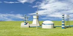 Nuclear Power Station  - 3d Illustration Stock Photos