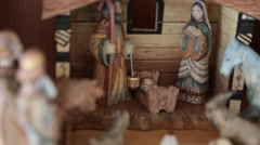 Hand carved Nativity creche Stock Footage