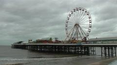 Blackpool Pier Big Wheel Stock Footage