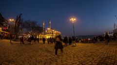 Time lapse photography, people walking Ortakoy square, night Stock Footage