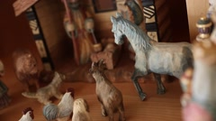 A beautiful hand carved wood Nativity creche Stock Footage