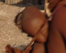 Himba making a hut Stock Footage
