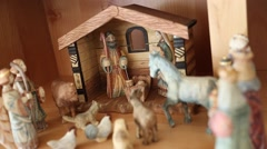 Hand carved wood Nativity creche Stock Footage