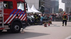 Dutch firefighters and medical services in action Stock Footage