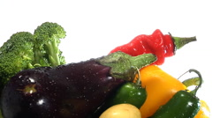 Assortment of fresh vegetables rotate in frame Stock Footage