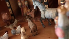 Beautiful carved wood Nativity creche Stock Footage
