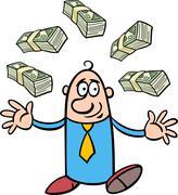 happy rich businessman cartoon - stock illustration