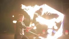RUSSIA, MOSCOW - JUNE 09 2013: Fire show a lot of sparks in the night Arkistovideo