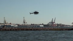South Street Seaport NY - Helicopter Flight Services  #153 Stock Footage