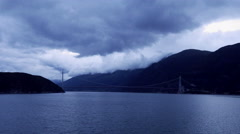 TL WL Motion lapse, with visualisation of lightning stroke while cruising fjord Stock Footage