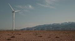 Wind energy turbines, renewable electric energy source. Stock Footage