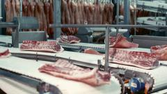 Meat Processing Plant conveyor Stock Footage