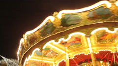 Carousel in the night city a quarter - stock footage